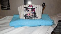 Cosmetic small bag with Monster High embroidery design