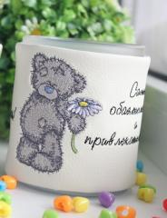 Cup cover with Teddy bear embroidery design