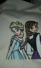 Elsa and Anna embroidered design