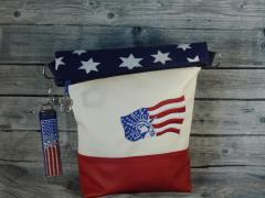 Embroidered bag with USA flag design