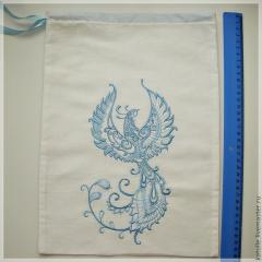 Embroidered bag with firebird design