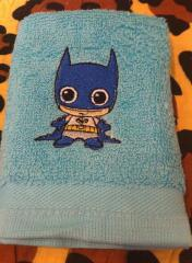 Embroidered towel with Chibi Batman design