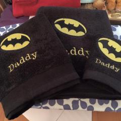 Embroidered towels with Batman logo design