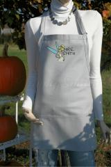 Tinkerbell embroidery design in a wedding dress apron — grey