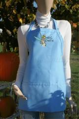Tinkerbell embroidery design in a wedding dress apron — blue