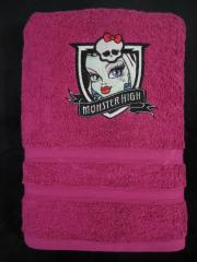 Bath towel with Monster High Frankie Stein embroidery design