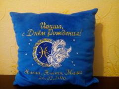 Pillow with Fish zodiac sign embroidery design