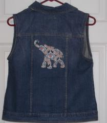 Jacket with flower elephant free embroidery design