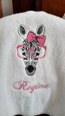 Towel with Zebra free embroidery design