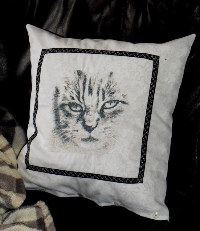 Cushion with grey cat free embroidery design