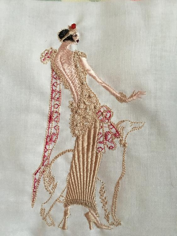 Dressed lady free mchine embroidery design