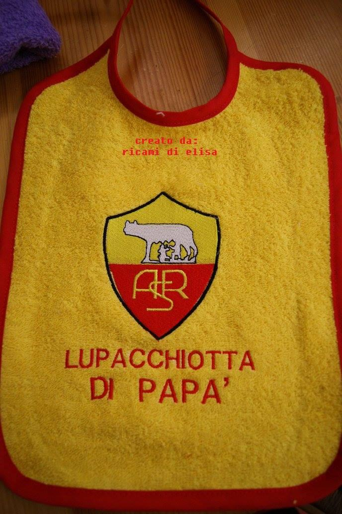 Baby bib with A.S. Roma embroidery design