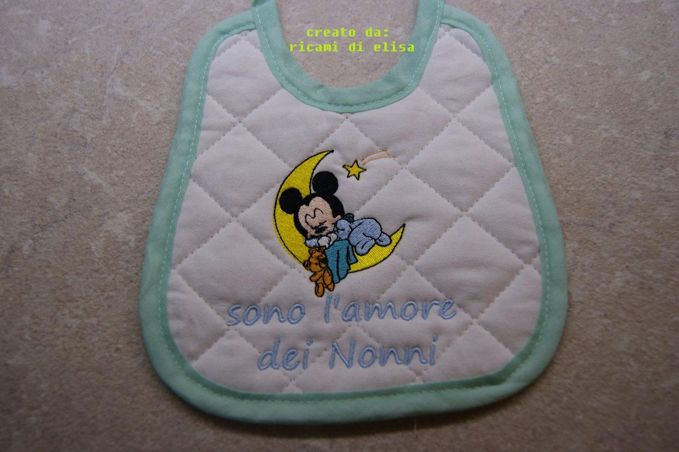 Bib with Baby Mickey Sleeping embroidery design