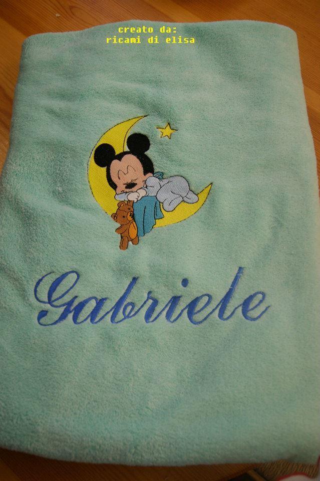 Fleece napkin with Baby Mickey Sleeping embroidery design