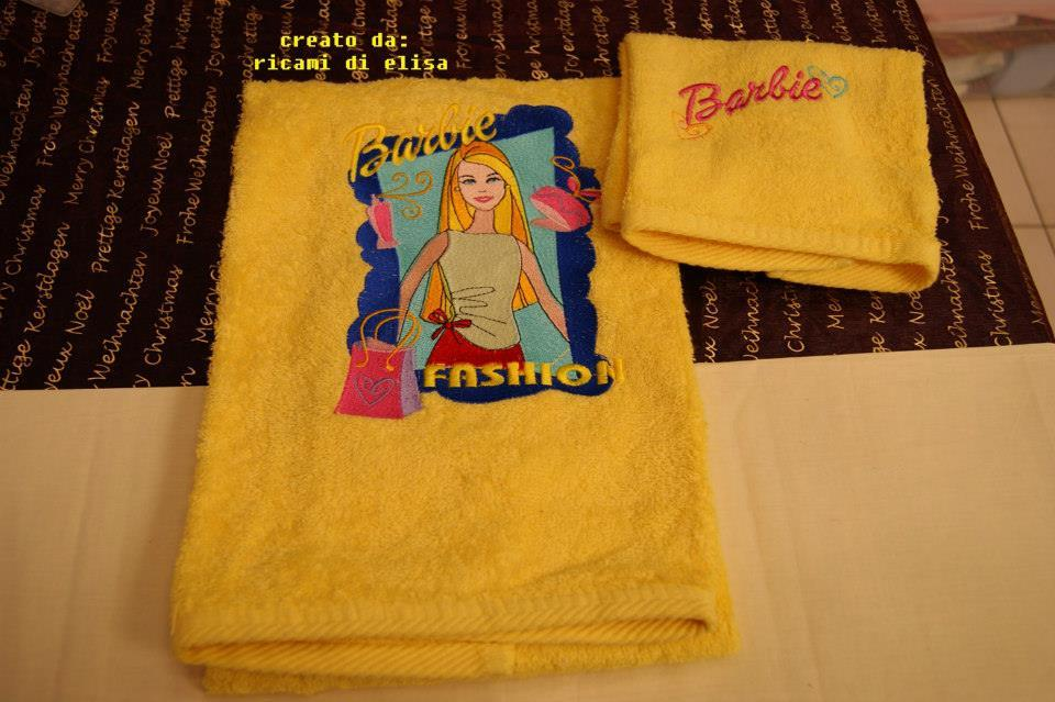 Towels with Barbie Fashion Style embroidery designs
