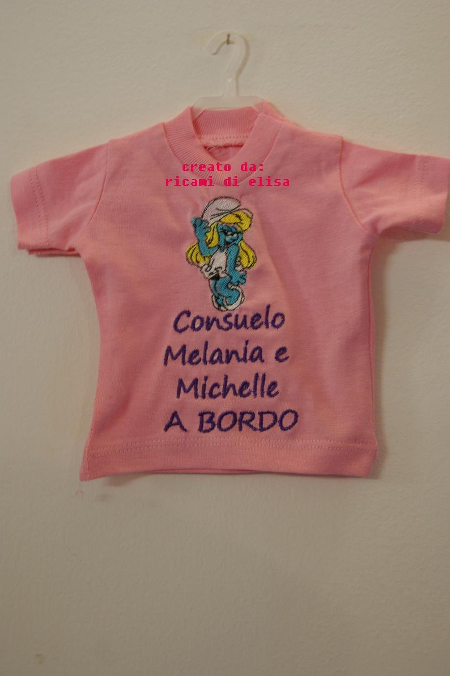 Baby outfit with Happy Smurf Girl embroidery design
