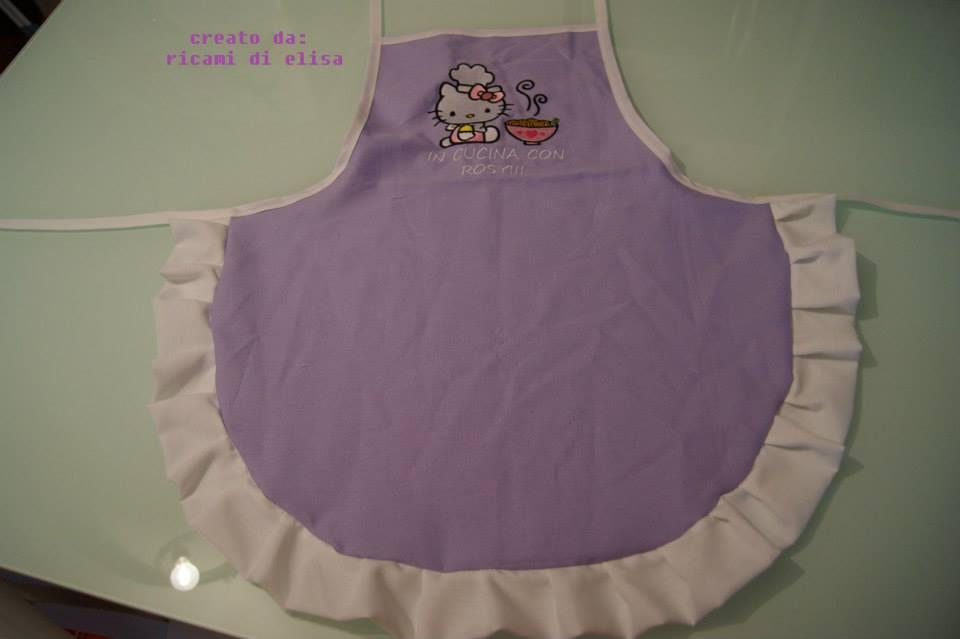 Baby kitchen apron with Hello Kitty Loves Chinese Food embroidery design
