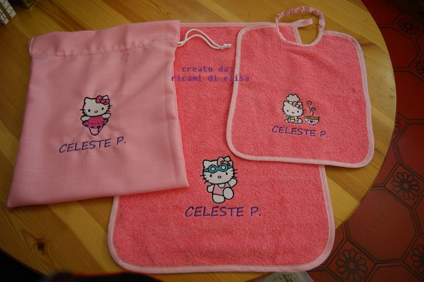 Baby gift set with Hello Kitty embroidery design