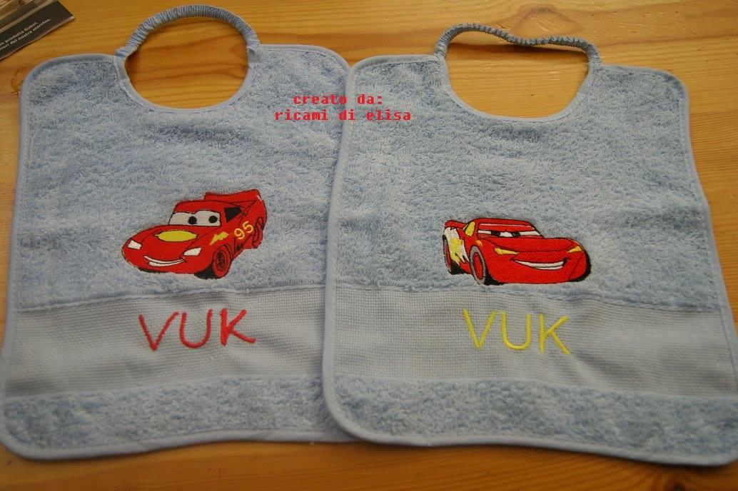 Baby bibs with Lightning McQueen embroidery design