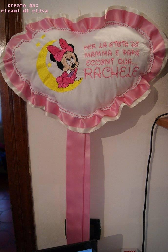 Newborn greeting  with Minnie Mouse and moon embroidery design