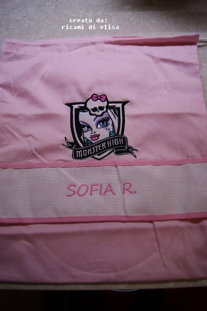 Napkin with Monster High Frankie Stein embroidery design