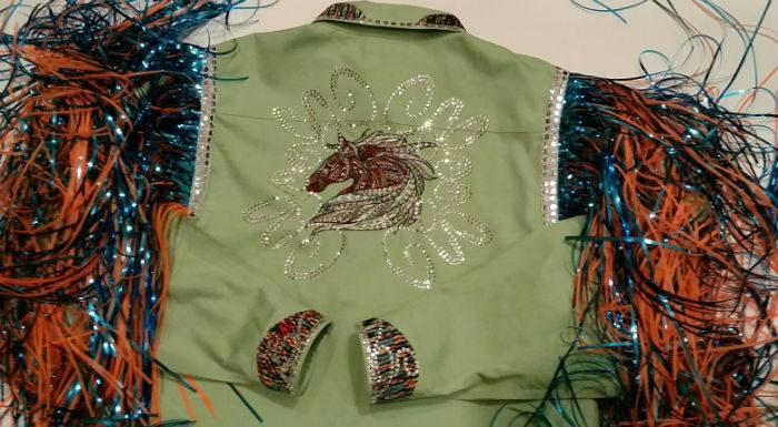 Women's jacket with Mosaic horse embroidery design