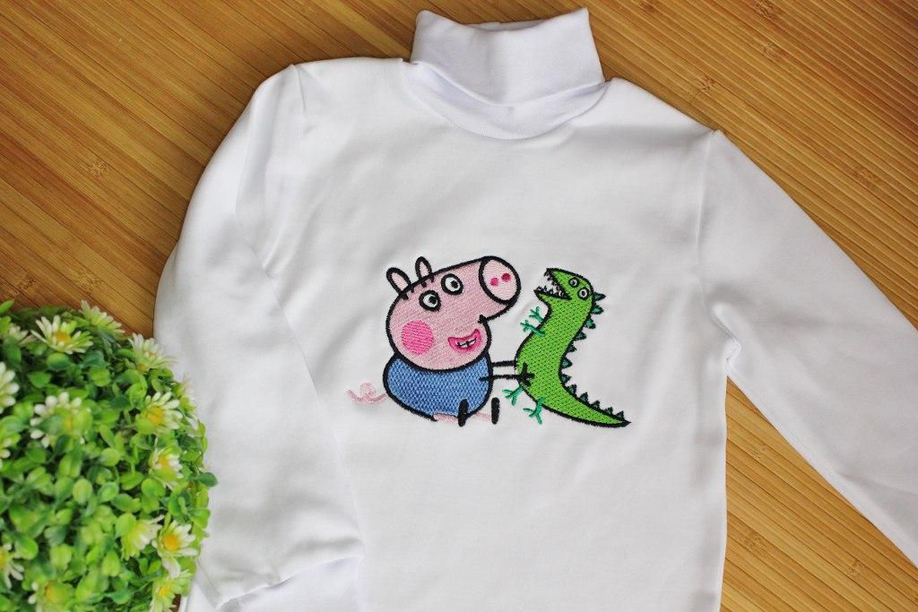 Shirt with Peppa Pig with Caterpillar embroidery design