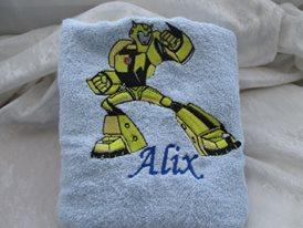 Towel with Transformers Bumblebee embroidery design