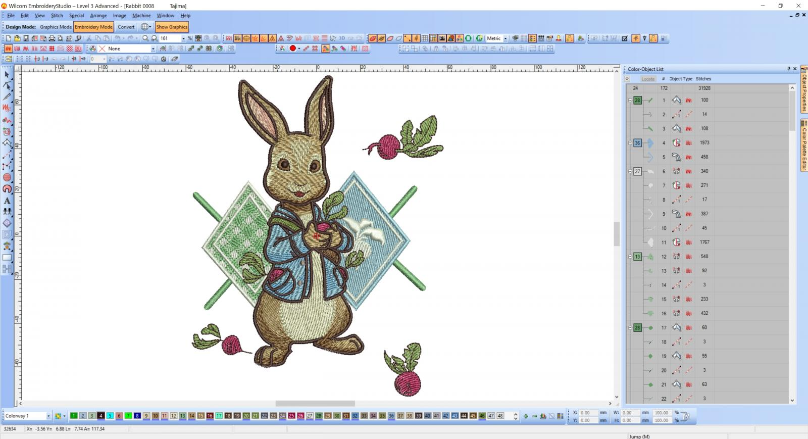Rabbit gardener embroidery design digitizing