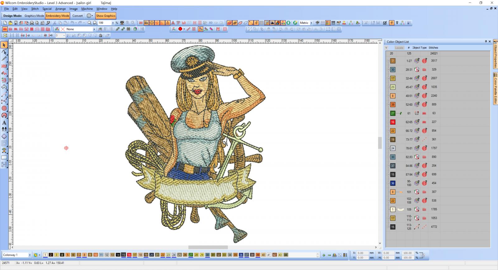 Sexy girl - ship captain embroidery design preview