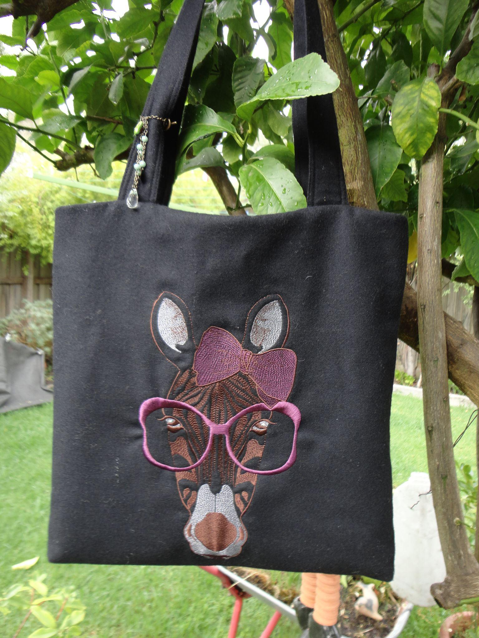 Tote bag with Zebra free embroidery design