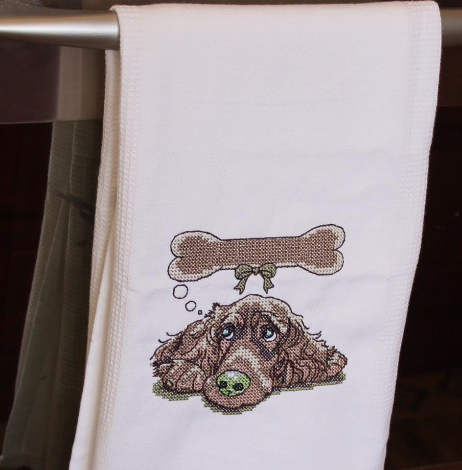 Towel with Dog cross stitch free embroidery design
