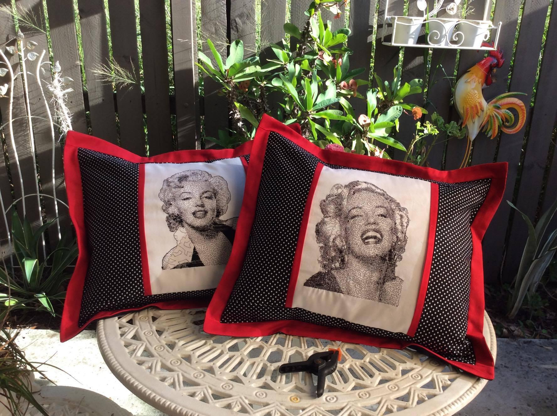 Two embroidered cushions with Marilyn Monroe free design