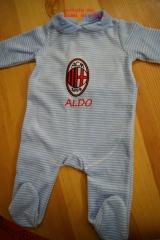 Baby outfit with AC Milan embroidery design