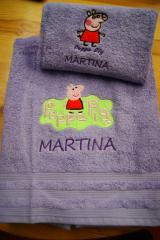 Bath towels with Peppa Pig embroidery designs