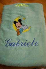 Fleece napkin with Baby Mickey Sleeping embroidery design
