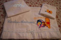 Newborn towels with Baby Pooh and Eeyore with honey embroidery design