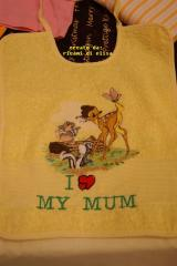 Bib with Bambi and company embroidery design