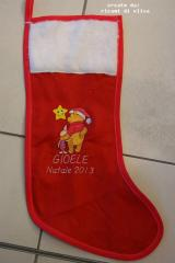 Sock with Christmas Winnie the Pooh and Piglet embroidery design