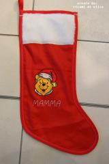 Sock with Christmas Winnie the Pooh embroidery design