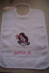 Baby bib with Draculaura in love embroidery design