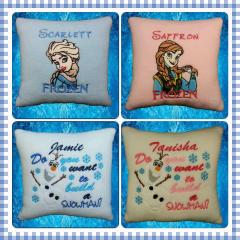 Pillow set with Frozen embroidery designs