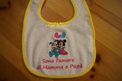 Baby bib with Goofy and Minnie we love embroidery design