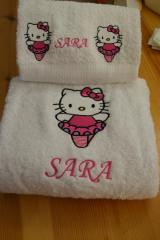 Bath towels with Hello Kitty Ballerina embroidery design