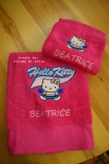 Towels and bathrobe with Hello Kitty Cheerleading embroidery design