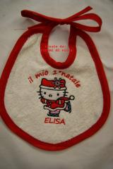 Baby bib with Hello Kitty Christmas Dance embroidery design
