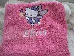 Bath towel with Hello Kitty Fairy embroidery design