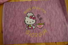 Table carper with Hello Kitty Loves Chinese Food embroidery design