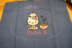 Kitchen napkin with Hello Kitty Loves Chinese food embroidery design
