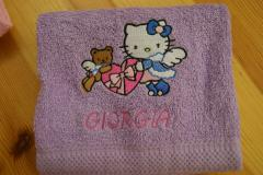 Towel with Hello Kitty Sno Angel embroidery design